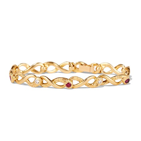 Vintage French Ruby & Diamond Serpent Bracelet