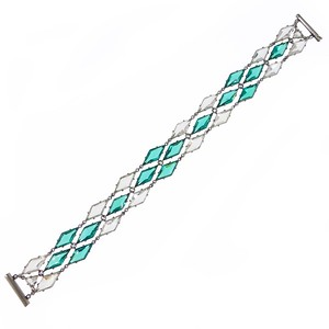 Antique Art Deco Open Backed Green & Clear Glass Diamond Panel Bracelet