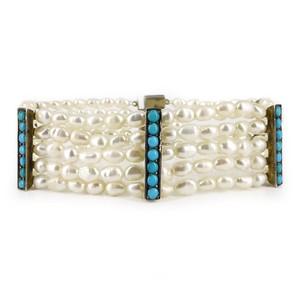 Antique Art Deco German Silver Turquoise Panel Pearl Bracelet