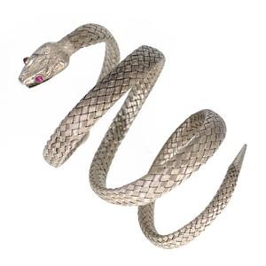 Antique Victorian Woven Silver Snake Bangle Bracelet