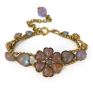Antique Edwardian Saphiret Glass Floral Heart Bracelet