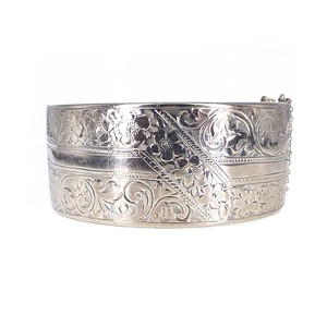 Antique Art Deco Silver Engraved Floral Aesthetic Somers & Eccles Bangle