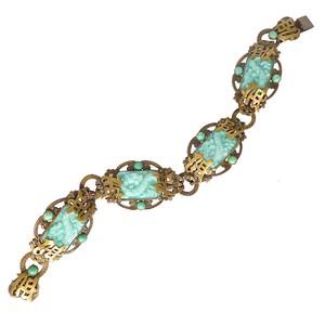 Antique Art Deco Neiger Brothers Oriental Inspired Dragon Glass Panel Bracelet