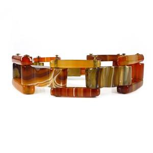 Antique Victorian Scottish Carved Agate Panel Bracelet