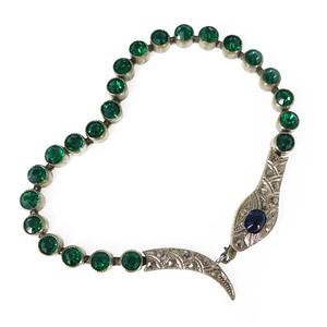 Antique Art Deco Green Bezel Set Silver Metal Snake Bracelet