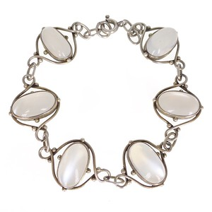 Antique Arts & Crafts Silver Moonstone Panel Bracelet
