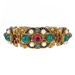 Antique Edwardian Czech Austro Hungarian Inspired Glass Panel Bracelet