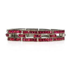 Vintage Art Deco Coro Channel Set Red Paste Chain Link Bracelet