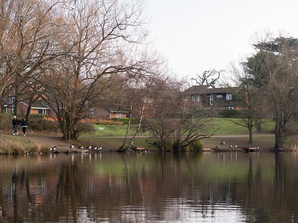 Couple walk at South Hill Park Lake