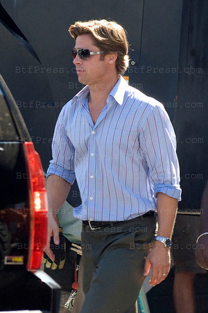 """Brad Pitt during the set of """" MONEYBALL """" in Los Angeles,California on September 29, 2010"""