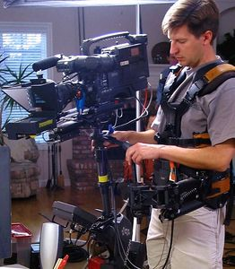 Steadicam with teleprompter.  Dell infomercial.