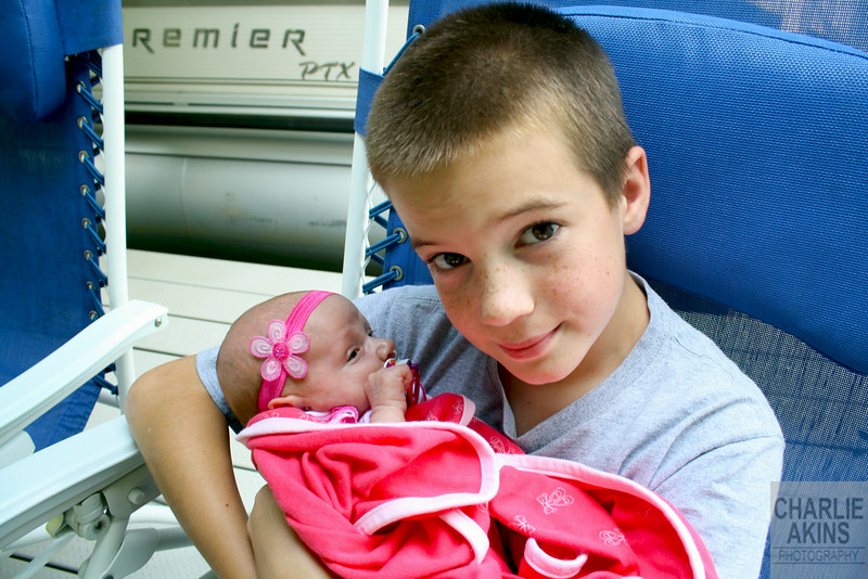 Austin with his baby sister