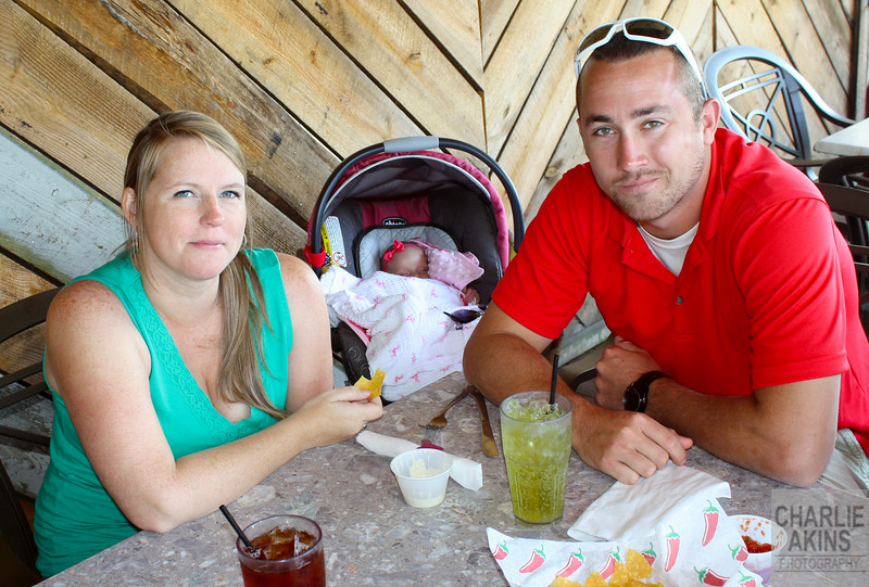 Shiloh and Bradley, with their baby, at Mexican Viejo restaurant