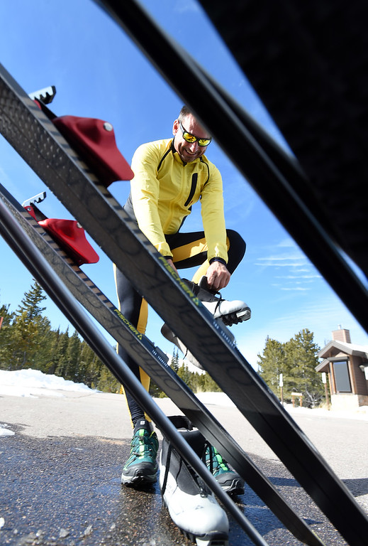 . Bavl Ondrjeck gets ready to spend the afternoon cross country skiing at Brainard Lake Recreation Area on Thursday. Cliff Grassmick  Photographer November 9, 2017