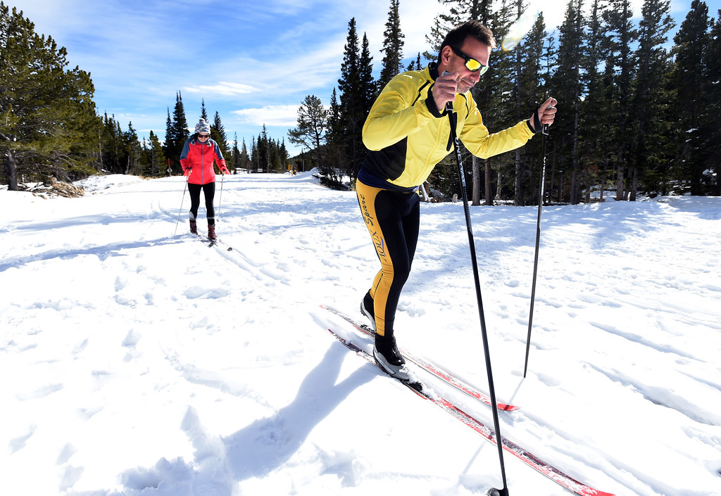 . Bavl Ondrjeck, right, and Renata Hromadkova, begin to spend the afternoon cross country skiing at Brainard Lake Recreation Area on Thursday. Cliff Grassmick  Photographer November 9, 2017