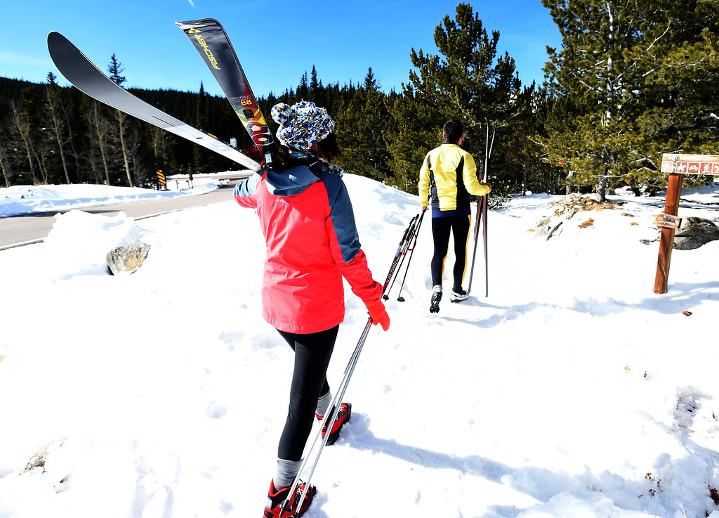 . Renata Hromadkova, left, and Bavl Ondrjeck, begin to spend the afternoon cross country skiing at Brainard Lake Recreation Area on Thursday. Cliff Grassmick  Photographer November 9, 2017