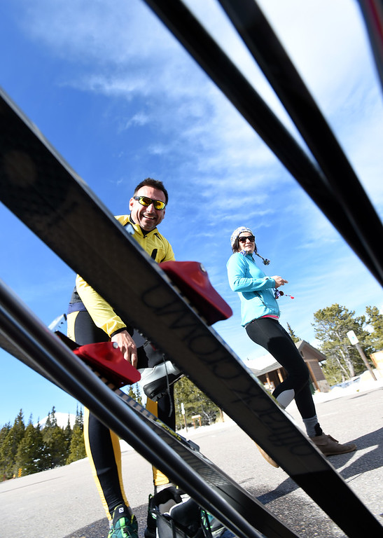 . Bavl Ondrjeck, left, and Renata Hromadkova, get ready to spend the afternoon cross country skiing at Brainard Lake Recreation Area on Thursday. Cliff Grassmick  Photographer November 9, 2017