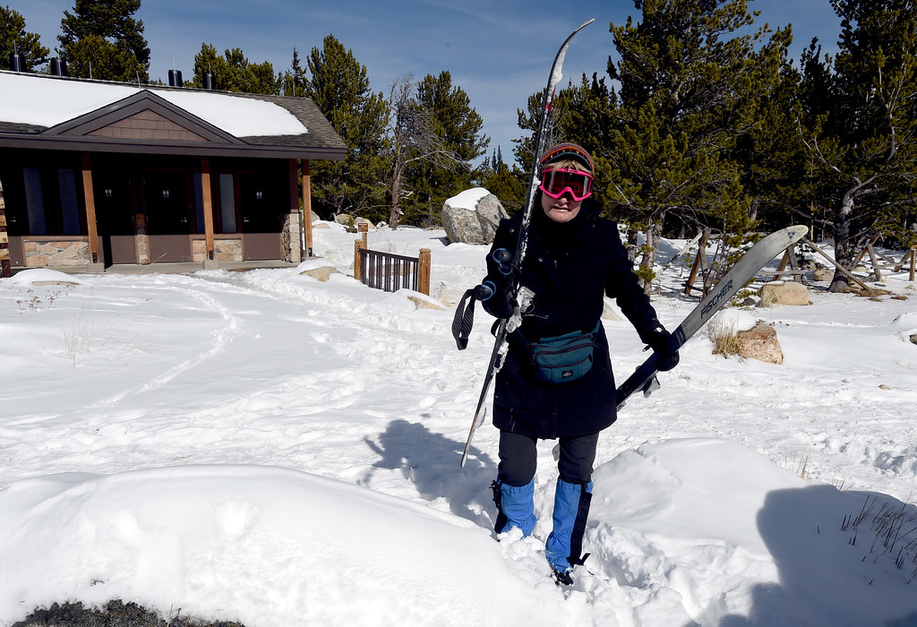 . Ann Marie, of Boulder, finishes up a day of cross country skiing at Brainard Lake Recreation Area on Thursday. Cliff Grassmick  Photographer November 9, 2017
