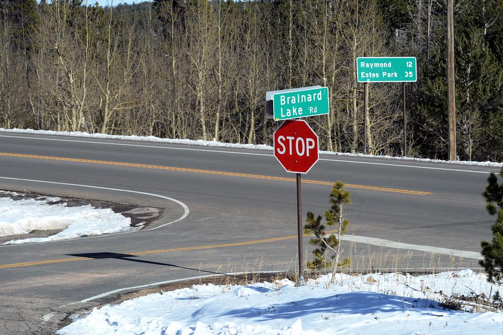 . The Brainard Lake Rd turn off from the Peak to Peak Highway. Cliff Grassmick  Photographer November 9, 2017
