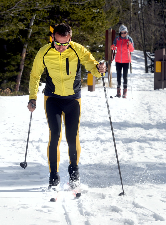 . Bavl Ondrjeck, left, and Renata Hromadkova, begin to spend the afternoon cross country skiing at Brainard Lake Recreation Area on Thursday. Cliff Grassmick  Photographer November 9, 2017