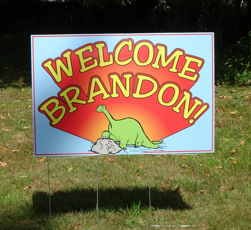 . A sign welcoming Brandon Cotoni at Pout and Trout campground. SENTINEL & ENTERPRISE/NICK MALLARD