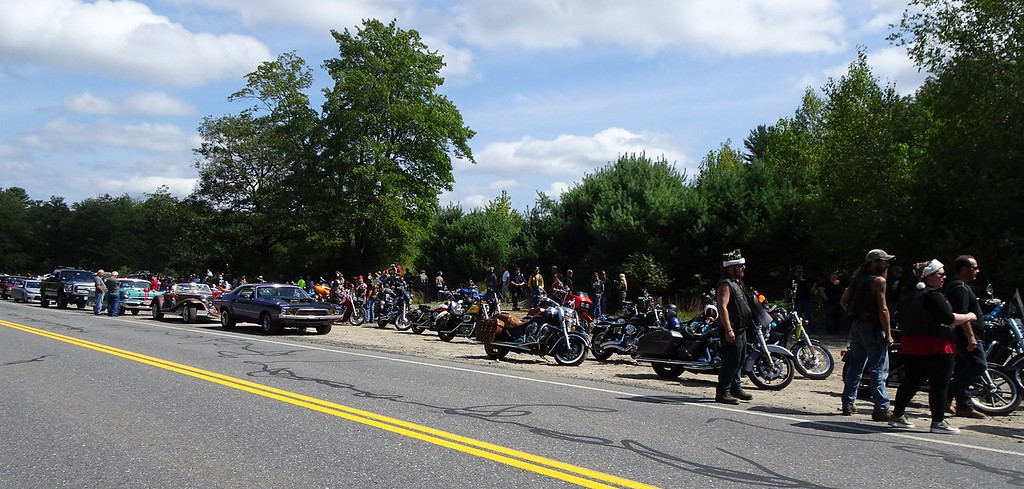 . Motorcycles await the start of a parade for 8-year-old Brandon Cotoni in Rutland on Sunday. SENTINEL & ENTERPRISE/NICK MALLARD