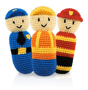 Policeman, Fireman and Construction Worker Rattles
