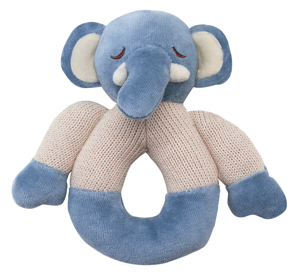 Elephant Knitted Teether Rattle