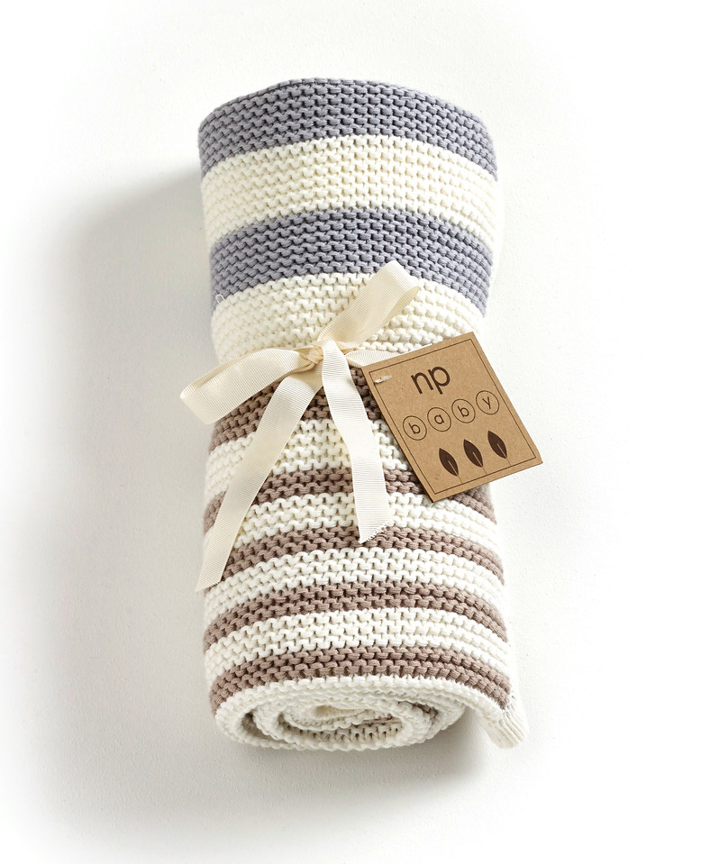 Striped Knitted Blanket (Grey)