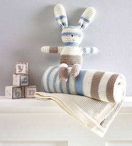 Striped Knitted Bunny & Blanket (Blue)