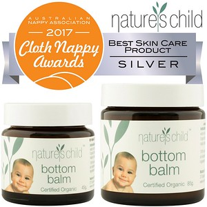 Nature's Child Certified Organic Bottom Balm - 45g & 85g - SRP INC GST $24.95 & $39.95 - Silver Winner Australian Nappy Association 2017 Cloth Nappy Wards