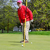 KRISTOPHER RADDER — BRATTLEBORO REFORMER<br /> Dennis Mayotte, of Brattleboro, Vt., watches his ball after a putt while playing golf at the Brattleboro Country Club on Friday, May 8, 2020.