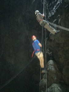 Repeling into the cave