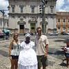 Pelourinho - Largo Terreiro de Jesus, Catedral Basílica de São Salvador (plaza & church) - woman in traditional dress, Amanda & Joshua-1