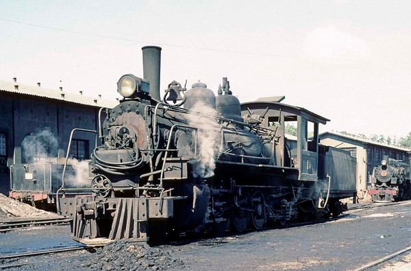 Dona Teresa Cristina Railway Nos 51, Tubarao, Brazil, 21 October 1976.  The 1925 Baldwin Pacific was acting as shed pilot.  The DTC had three of these.  They worked the passenger service between Tubarao and Criciuma until it was abandoned about 1970.  Photo by Les Tindall.