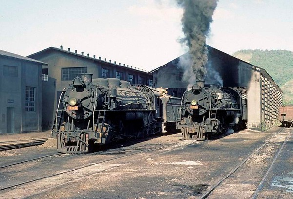 Dona Teresa Cristina Railway Nos 304 & 306, Tubarao, Brazil, 21 October 1976.  2-10-4s outside one of the sheds.  Photo by Les Tindall.