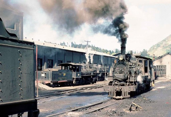 Dona Teresa Cristina Railway Nos 52 & 51 (nearer), Tubarao, Brazil, 21 October 1976.  The two Baldwin Pacifics with a 2-10-4 beyond.  Photo by Les Tindall.