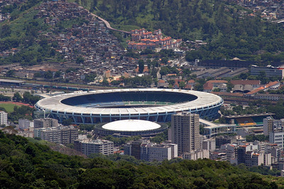 Maracanã stadium, once the world's highest capacity football (soccer) venue, able to hold nearly 199,000 people, as it did the World Cup final of 1950.  Now with seating for all capacity is 95,000 fans; it will eventually hold around 120,000 people. It will host the final match of 2014 FIFA World Cup and the Opening and Closing Ceremonies and football matches of the 2016 Summer Olympic Games. 2004
