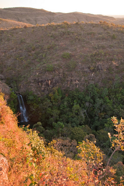 Cerrado means dry savannah. It is a land of ancient acidic soils and low rainfall. The flat table top upon which Daterra sits halts here before a deep gorge with a beautiful waterfall. Luis has dedicated this viewing site to the late Ernesto Illy. Note the green vegetation below!