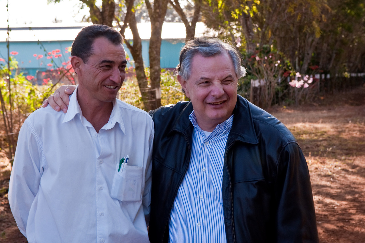 Luis Norberto Pascoal stands next to Ismael Fernandes da Silva, machinery manager at Daterra