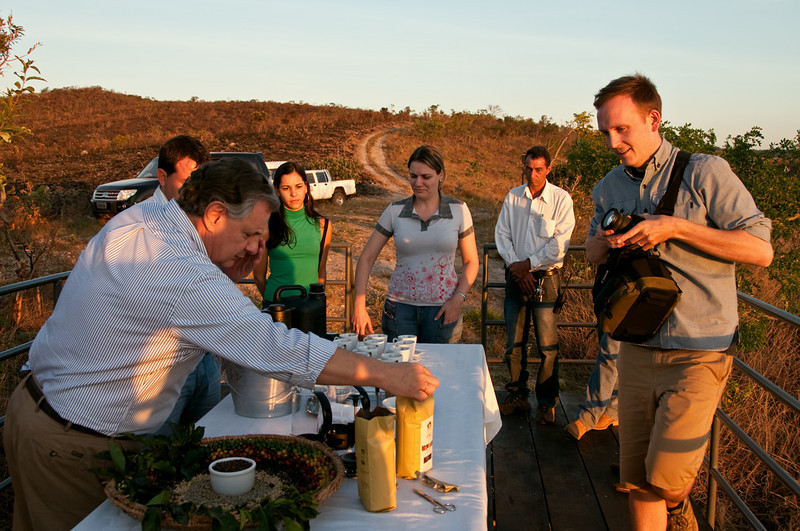 Luis deeply believes in the spiritual value of ceremonies.  Here he is serving us and his staff French presses at the overlook as the sun sets.  Andreza Elaine Mazarão stands in the center; she is the Director of Marketing and Customer Relations.