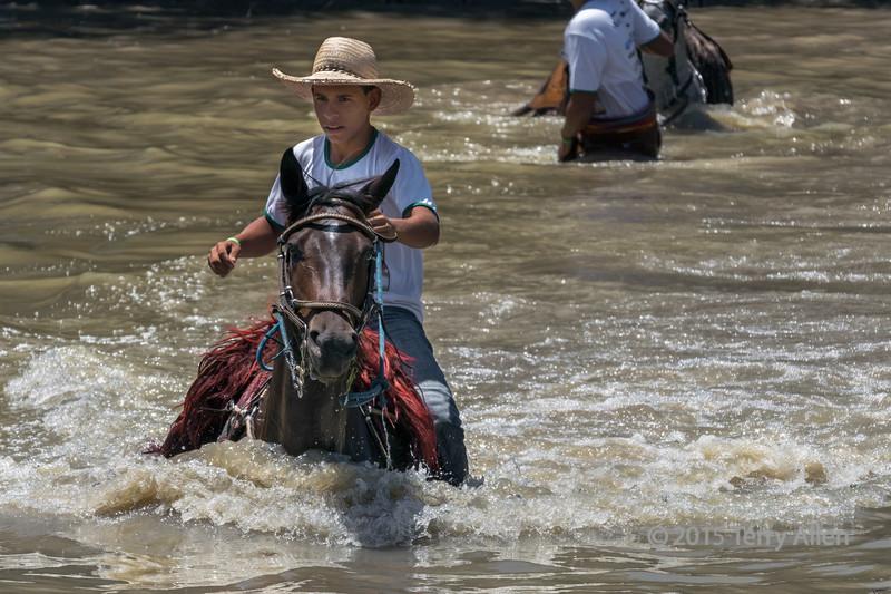 Young man crossing the river on horseback, XIV Calvalcada do Cavalo Pantaneiro, Pixaim River, Pantanal Brazil