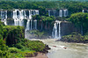 The Iguazu Falls and river gorge as viewed from the Brazilian side, South America.