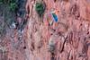 Cliffs-of-Buraco-das-Araras-with-Red-and-green-macaw,-near-Jardim,-Mato-Grosso-do-Sul,-Brazil