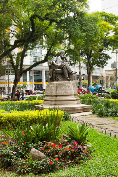 Statue and monument of emperor Dom Pedro in Petropolis, Brazil, South America.