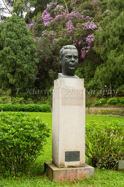 Statue and monument of the author Alcindo de Azevedo Sodre at the Imperial Museum in Petropolis, Brazil, South America.