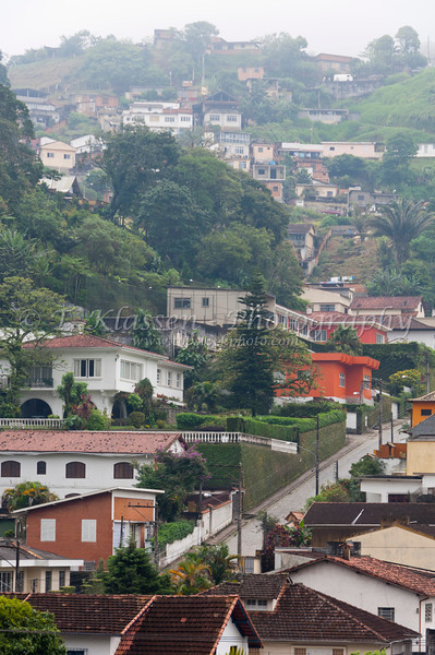 Colonial homes on the hillside in Petropolis, Brazil, South America.