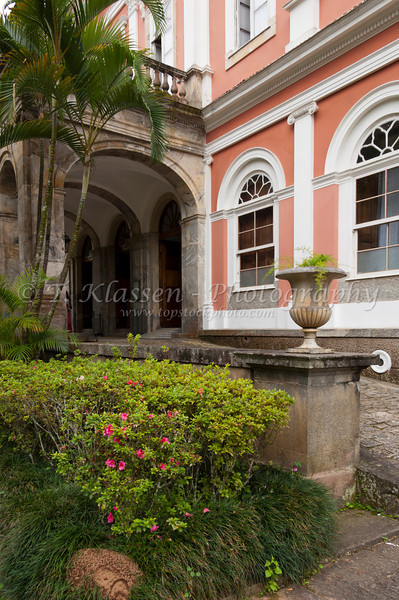 The front entrance to the Imperial Museum exterior in Petropolis, Brazil, South America.