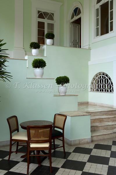 The interior decor of the historic Solar do Imperio 1875 hotel in Petropolis, Brazil, South America.