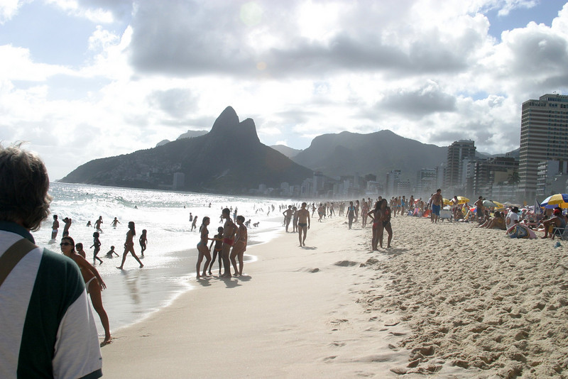 Impanema beach, Favela's on the hill with Dois Iramos Hill Rio de Janeiro scenes